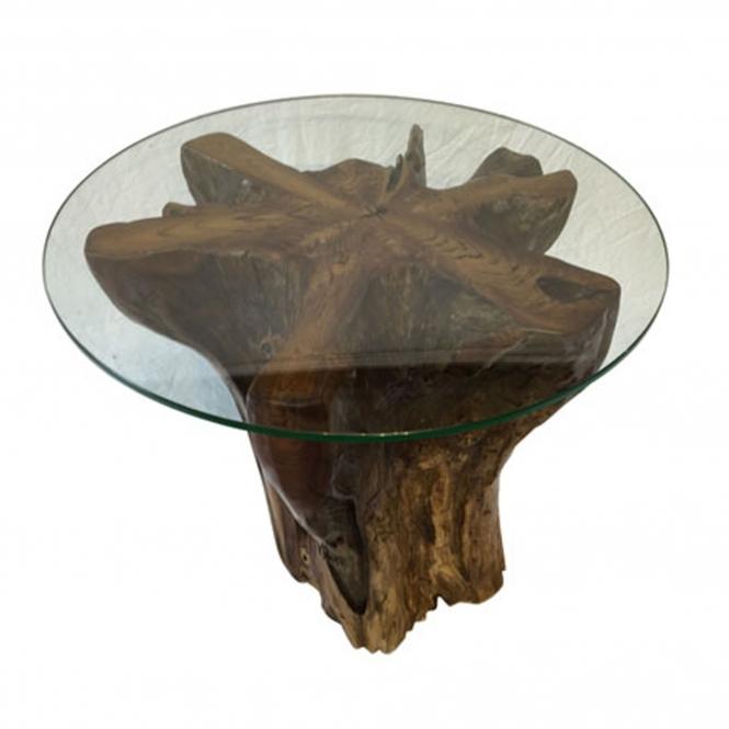 Teak Root Side Table Trunk Round Glass Teak Root Furniture