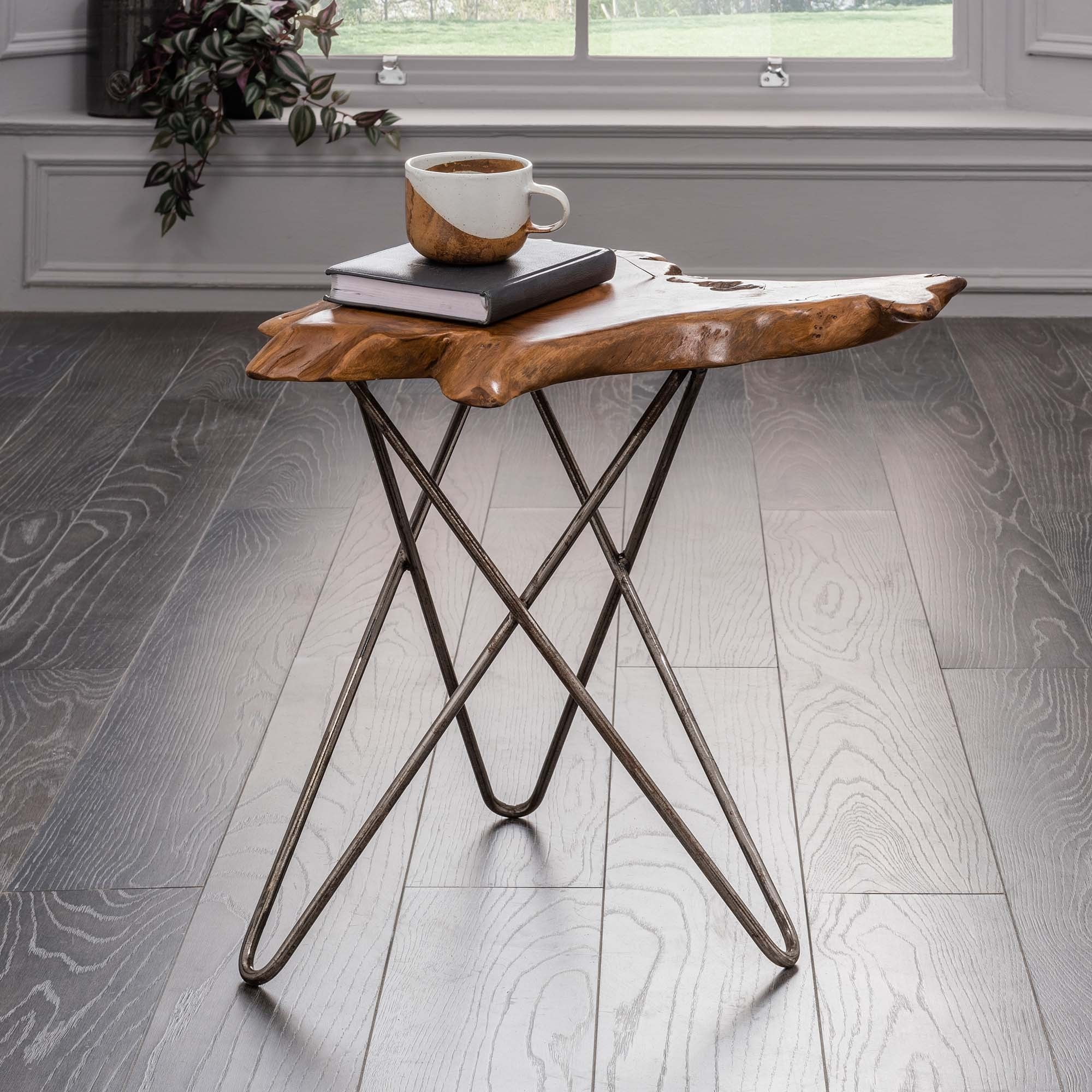 Picture of: Teak Root Side Table With Metal Legs Teak And Driftwood Furniture