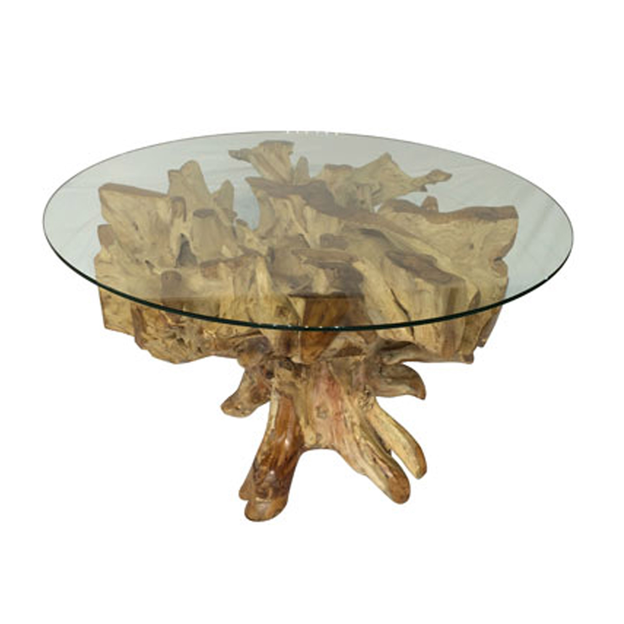 Teak Root Spider Stone Round Glass Dining Table