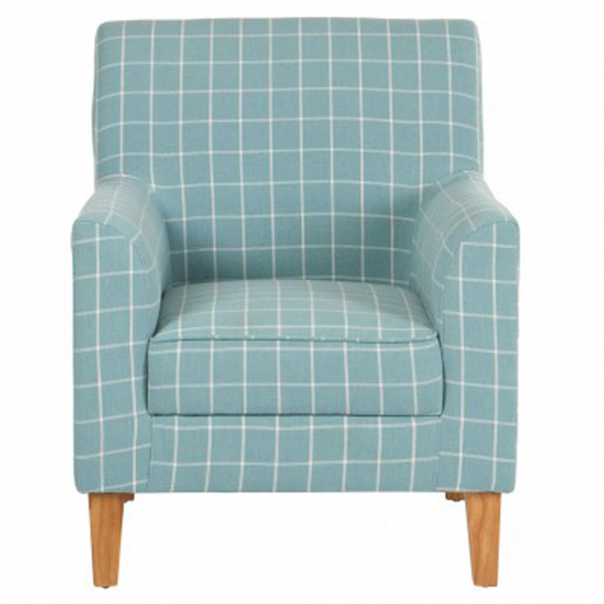 Teal Checkered Medan Armchair