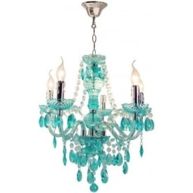 Teal Electric Five Light Princess Pendant