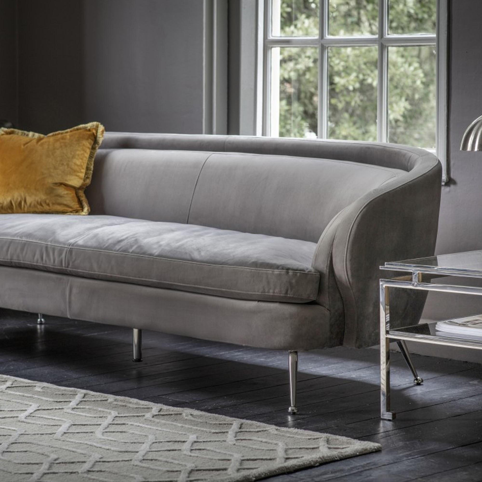 Tesoro Sofa Grey Velvet Modern Sofa Curved Sofa Velvet Sofa