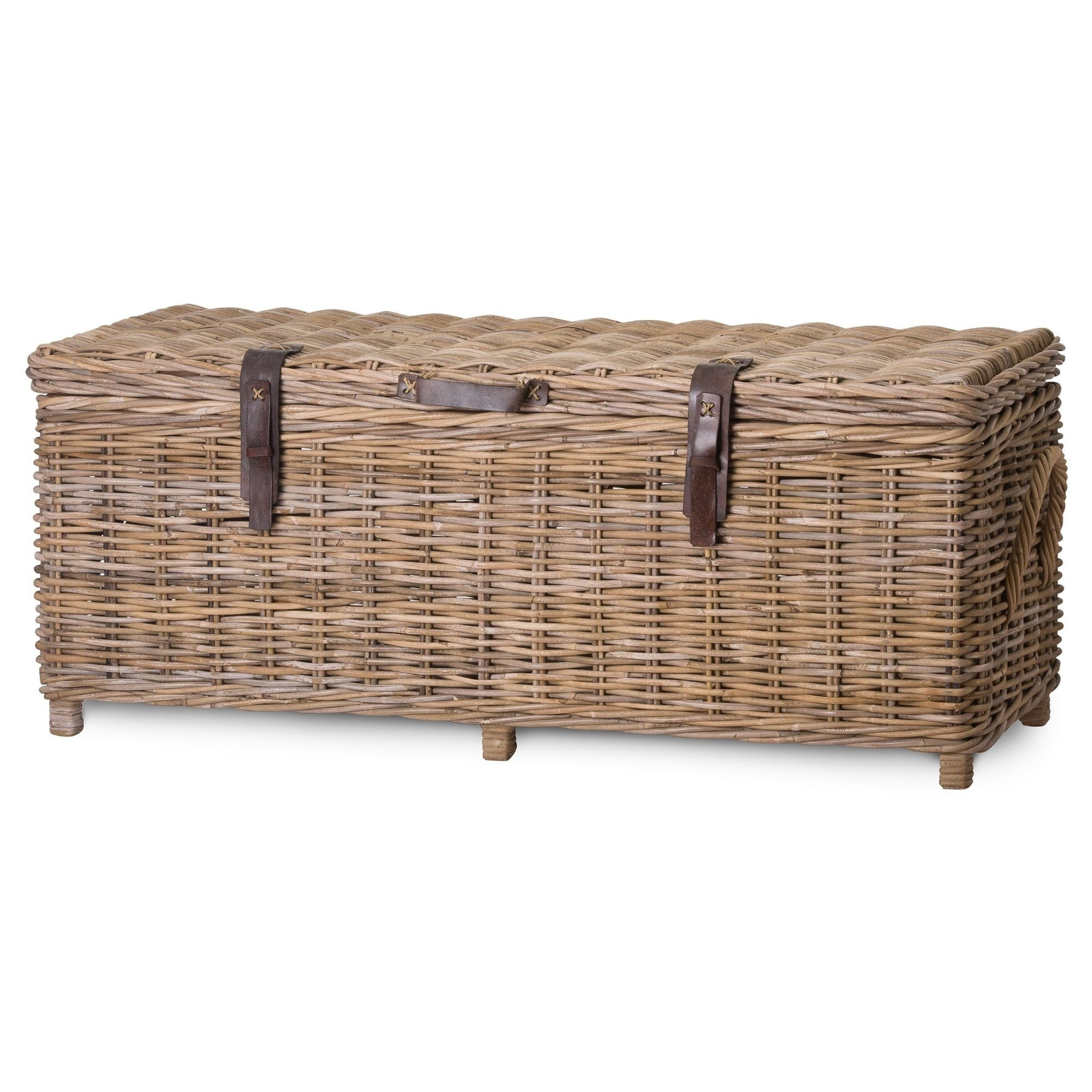 - The Bali Full Rattan Trunk With Leather Straps Storage Trunk