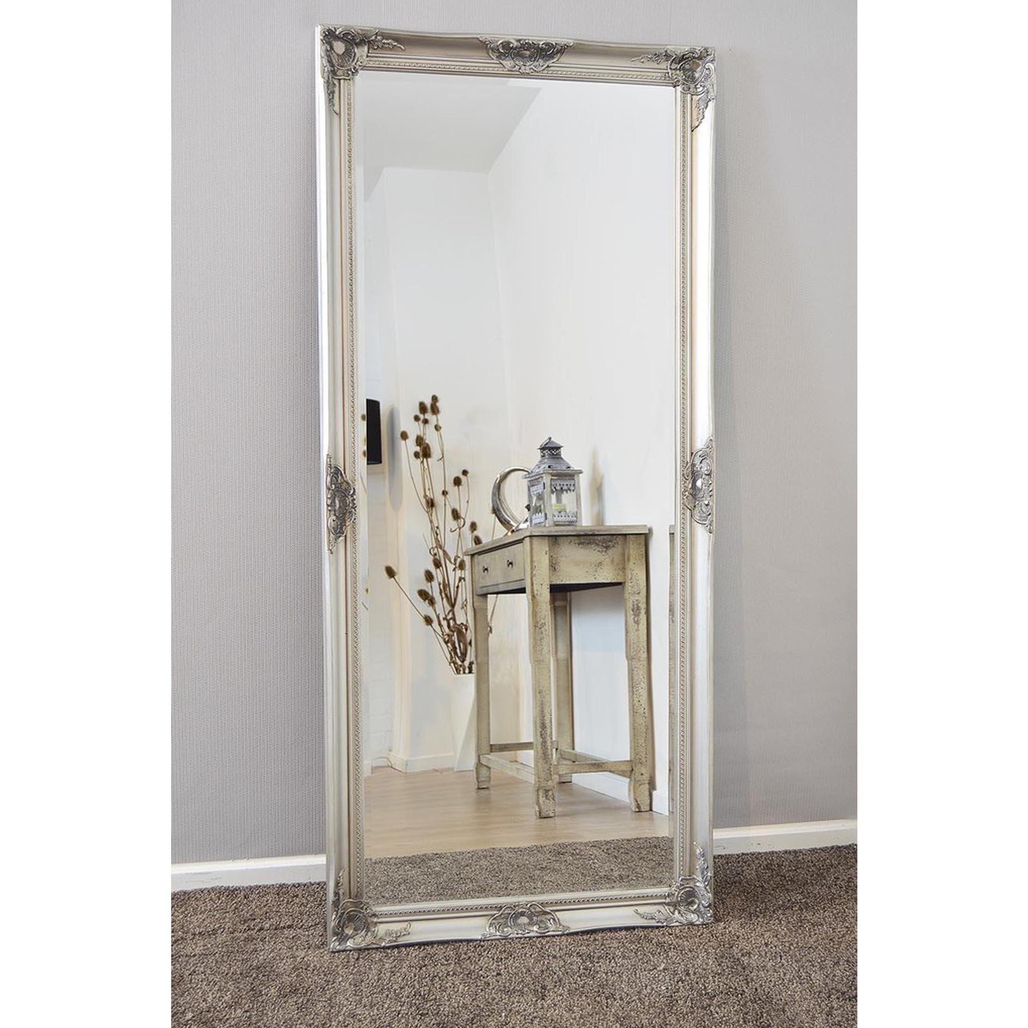 Thin Antique French Style Silver Leaner Mirror