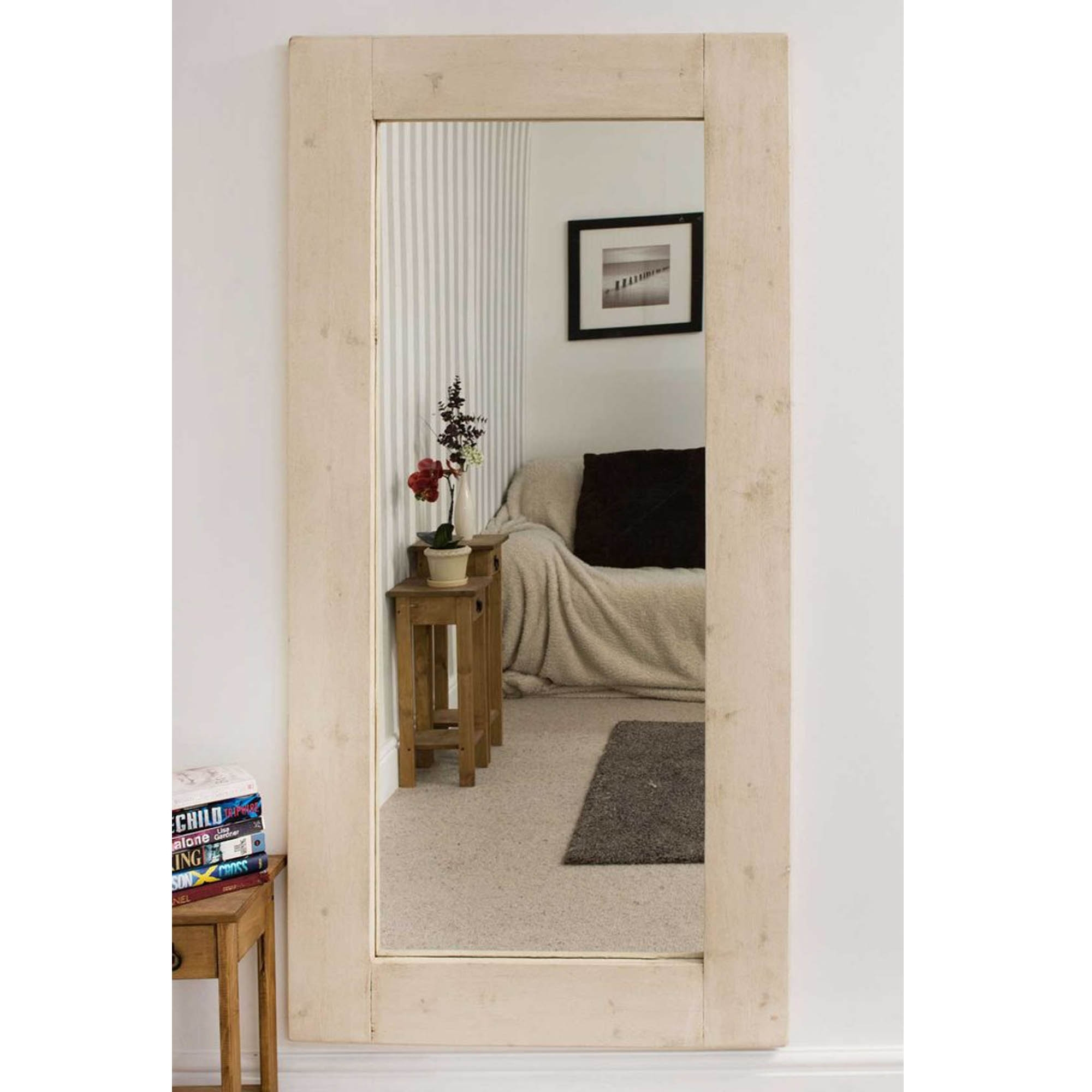 Thin rustic country house white wall mirror