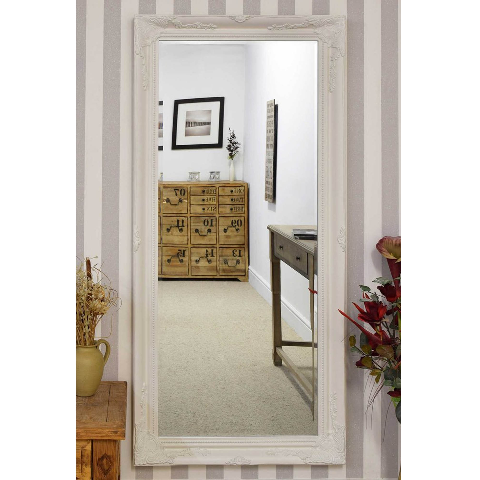 Thin White Decorative Antique French Style Wall Mirror | HD365