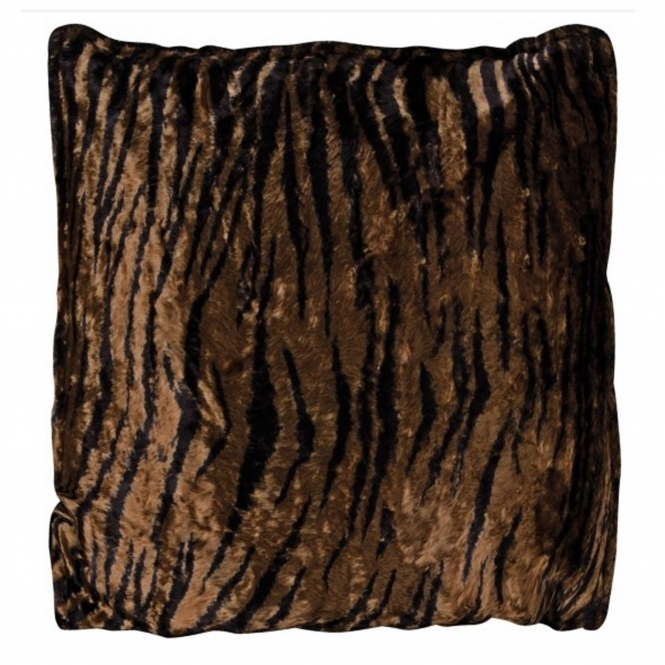Tiger Stripe Velvet Filled Cushion
