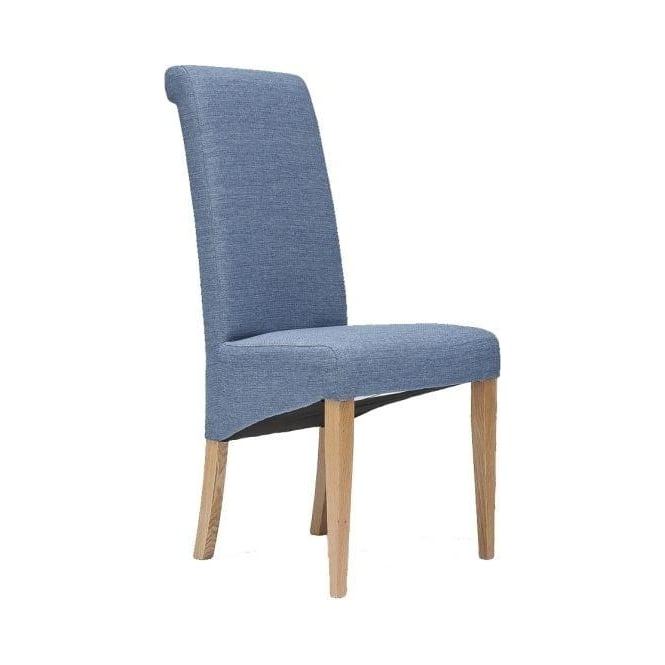 Tivoli Oak Fabric Rollback Chair - Blue