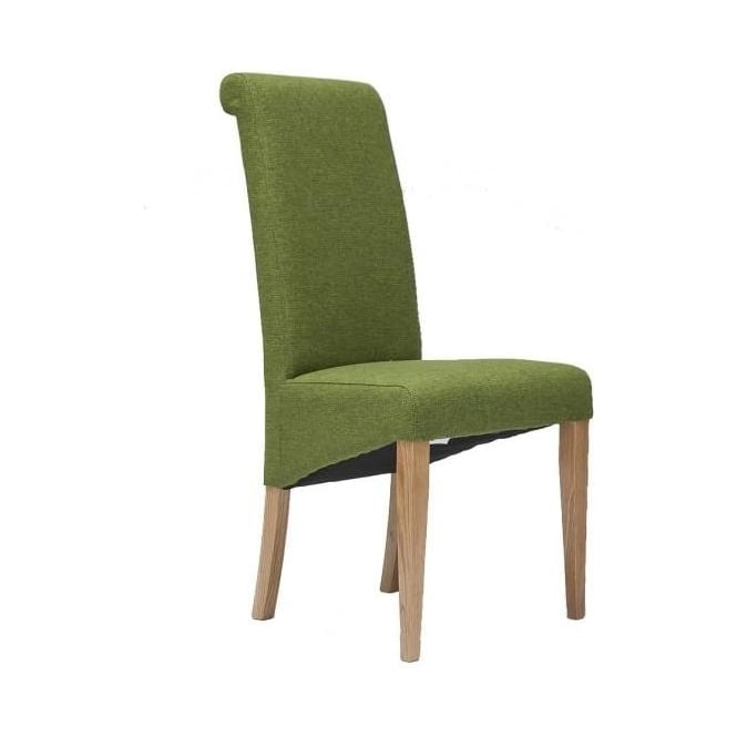 Tivoli Oak Fabric Rollback Chair - Green