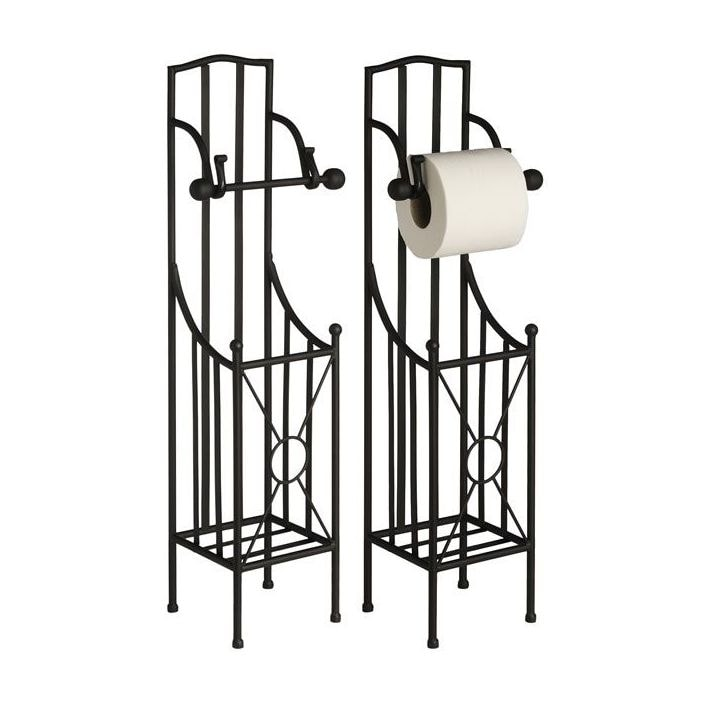Black toilet roll holder with storage for Storage for toilet rolls