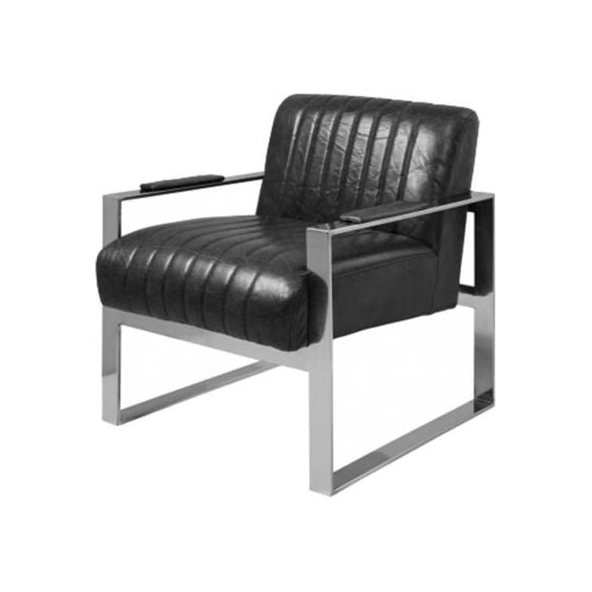 Torino Black Leather Armchair