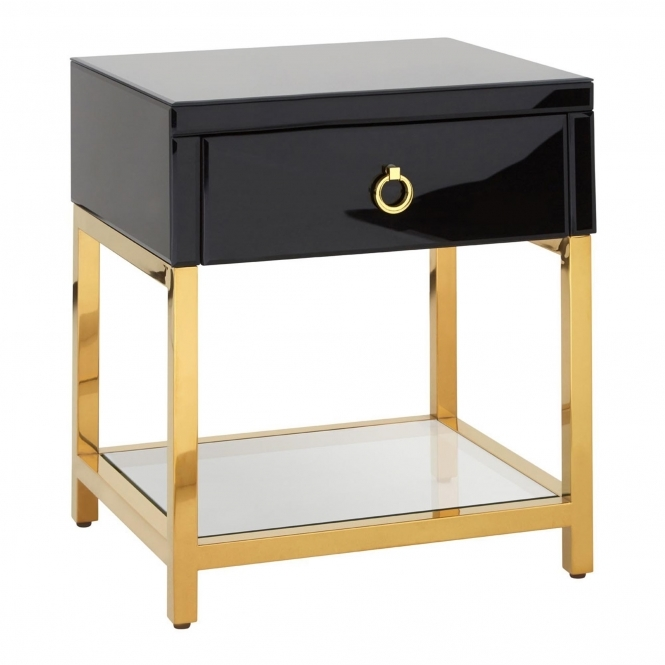 Townhouse 1 Drawer Tempered Glass Bedside Table