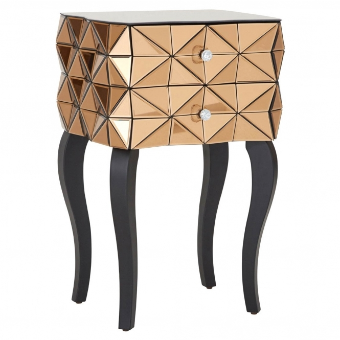 Townhouse Copper Mirrored Bedside Table