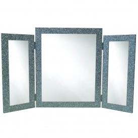 Triple Silver Glitter Effect Table Mirror