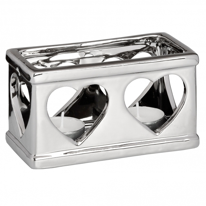 Twin Silver Heart Candle Holder