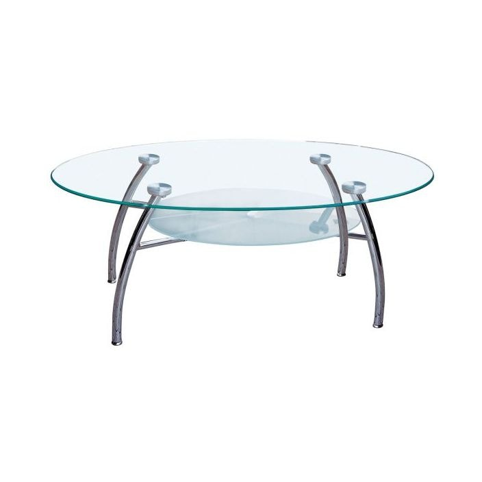 Two Tier Glass Coffee Table With Chrome Legs French Furniture From