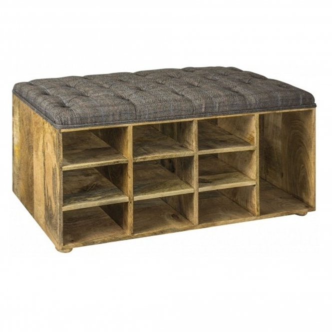 Upholstered Tweed Shoe Storage Bench