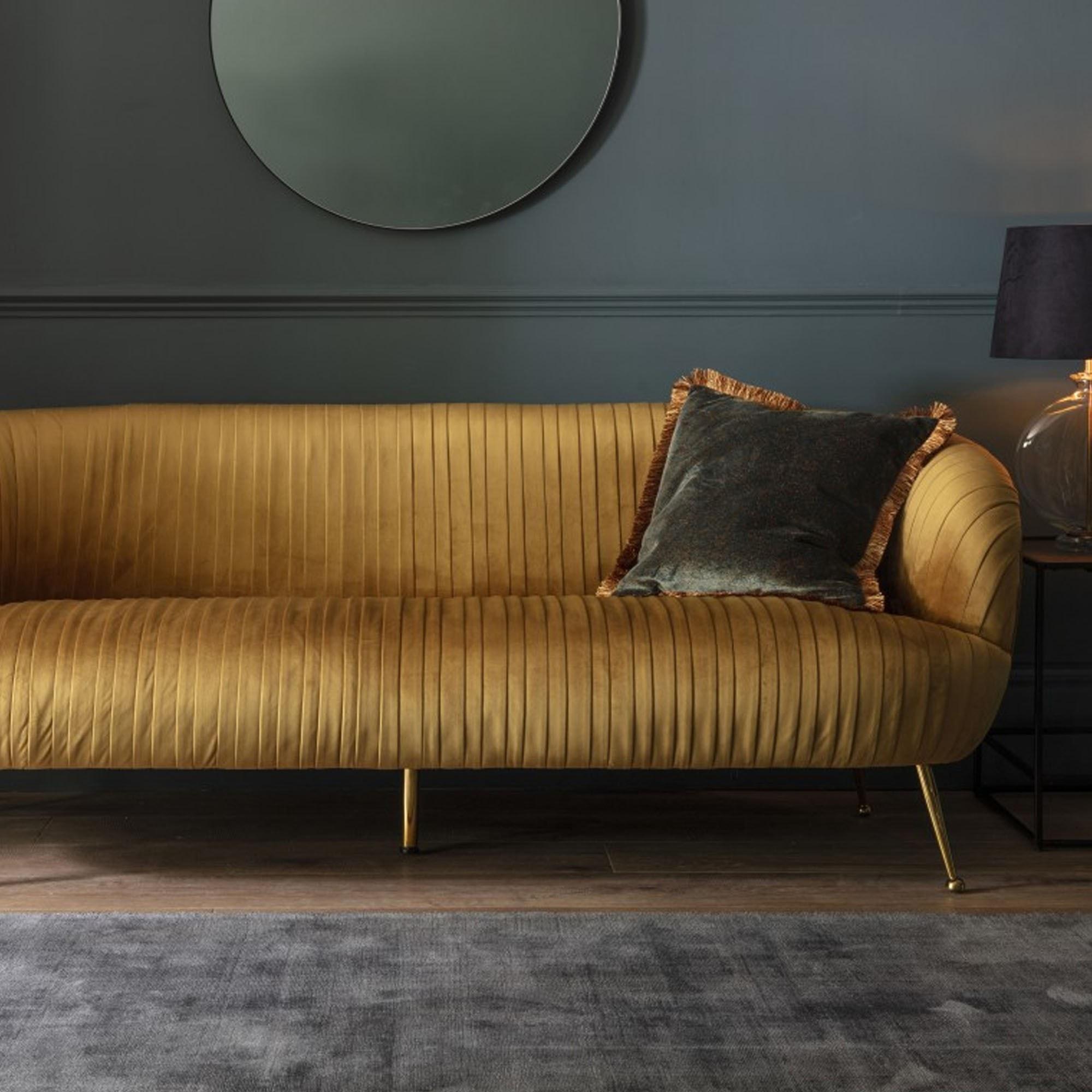 Picture of: Valenza Sofa Gold Velvet Modern Sofa Curved Sofa Gold Velvet Sofa