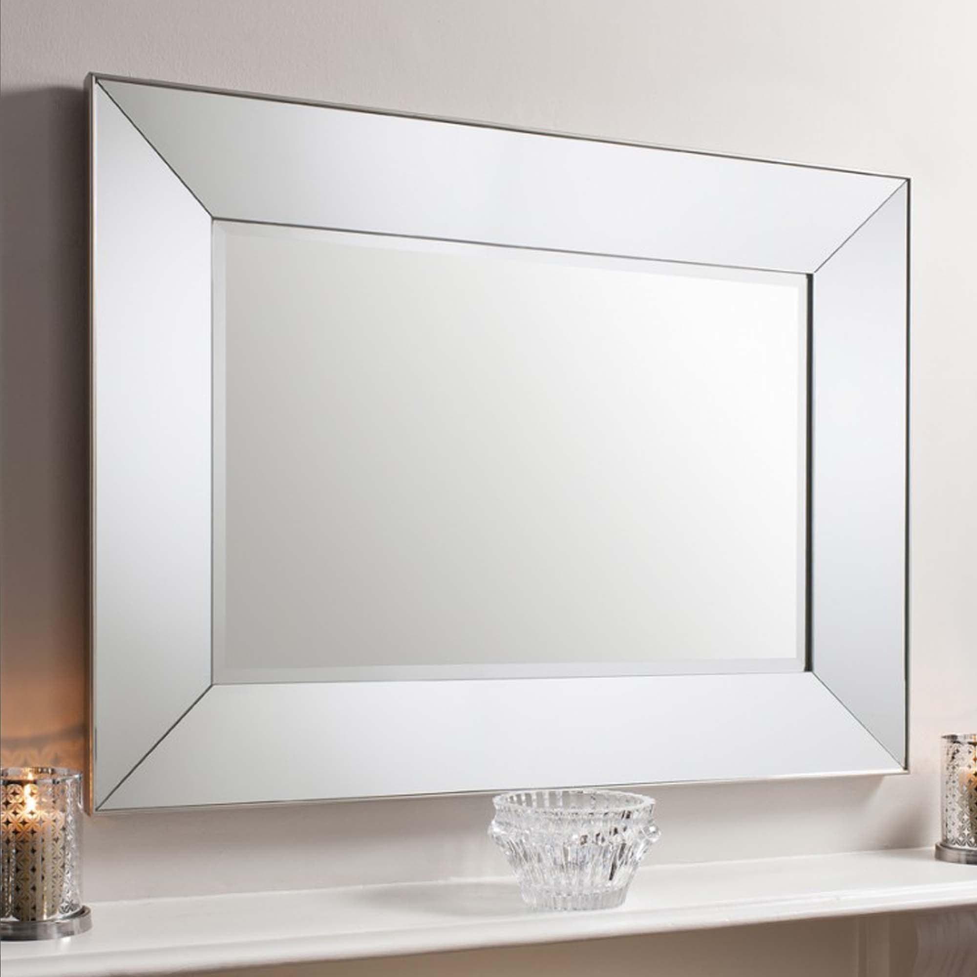 Vasto Rectangle Mirror Silver Wall Mirror Decorative Mirrors
