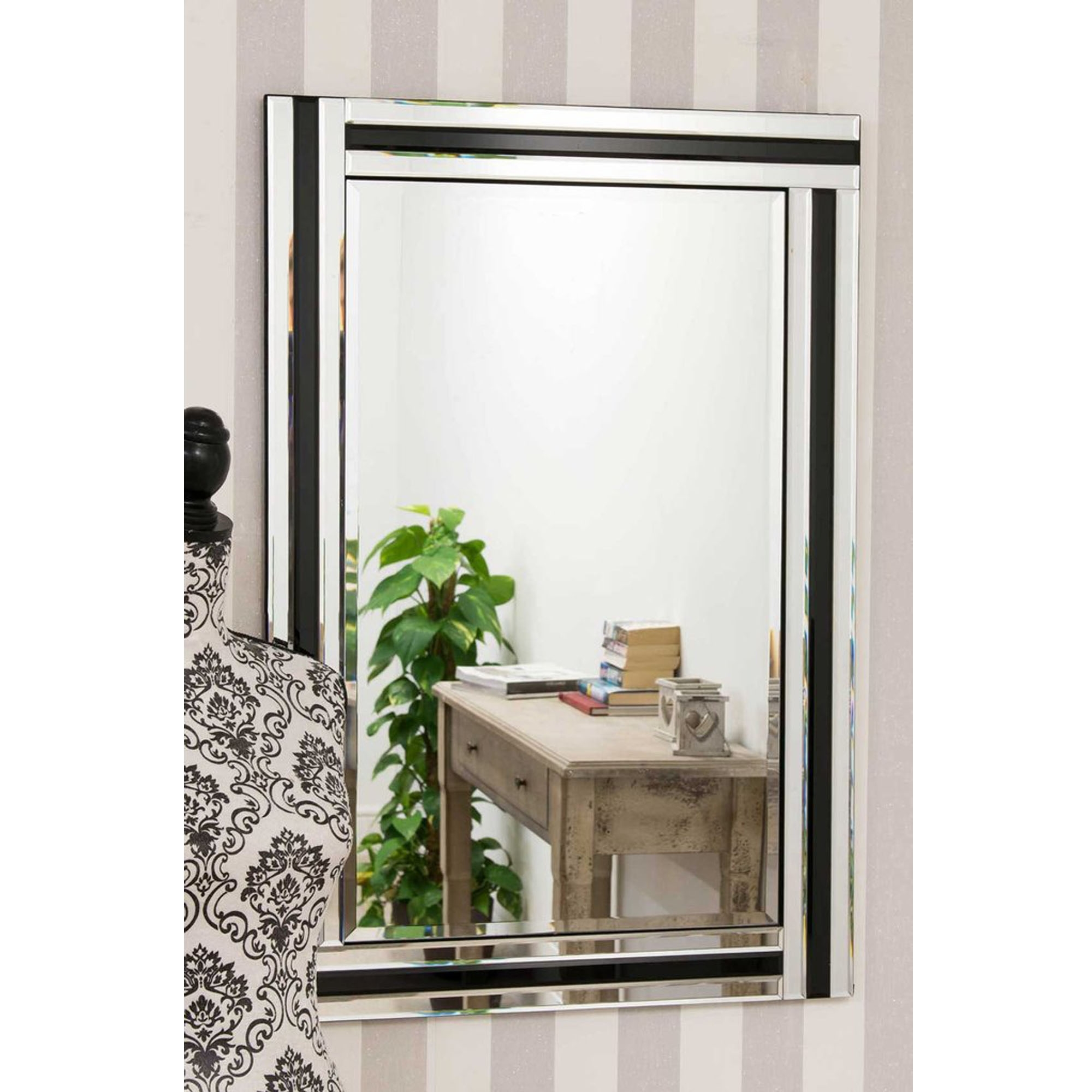 Venetian Bevelled Silver And Black Rectangular Wall Mirror