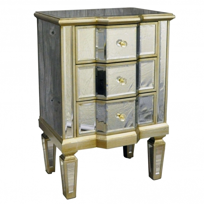 Venetian Glass 3 Drawer Bedside