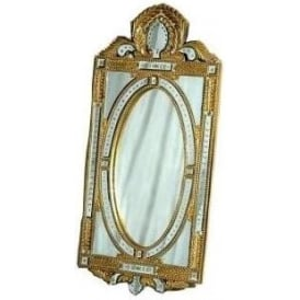 Venetian Mirror Gold Rectangular Oval Frame Mirror