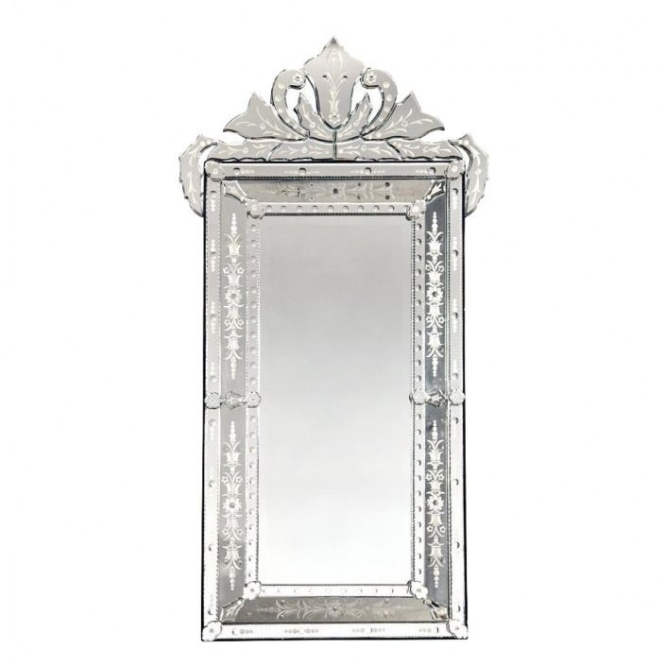 Venetian Mirror with Crown and Etching