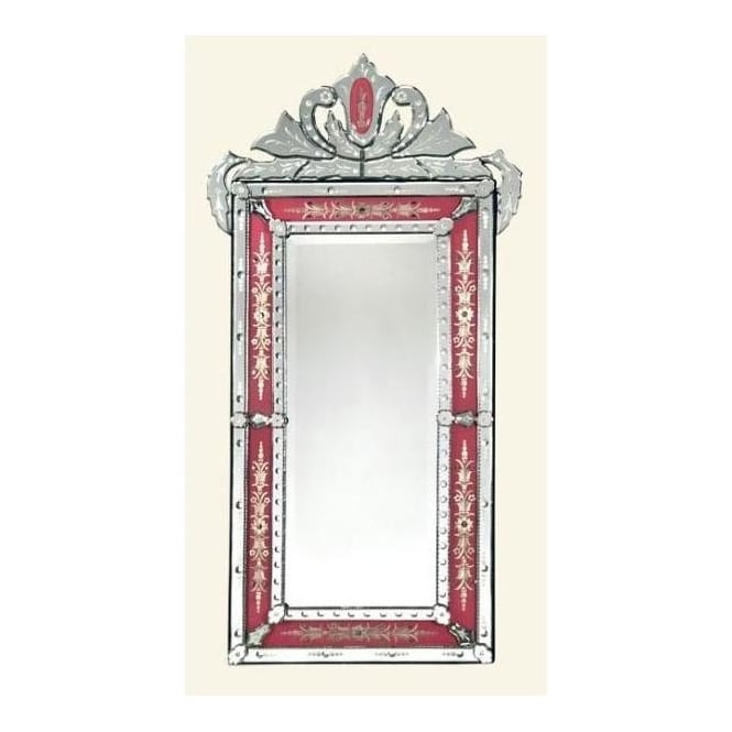Venetian Mirror With Pink Crown