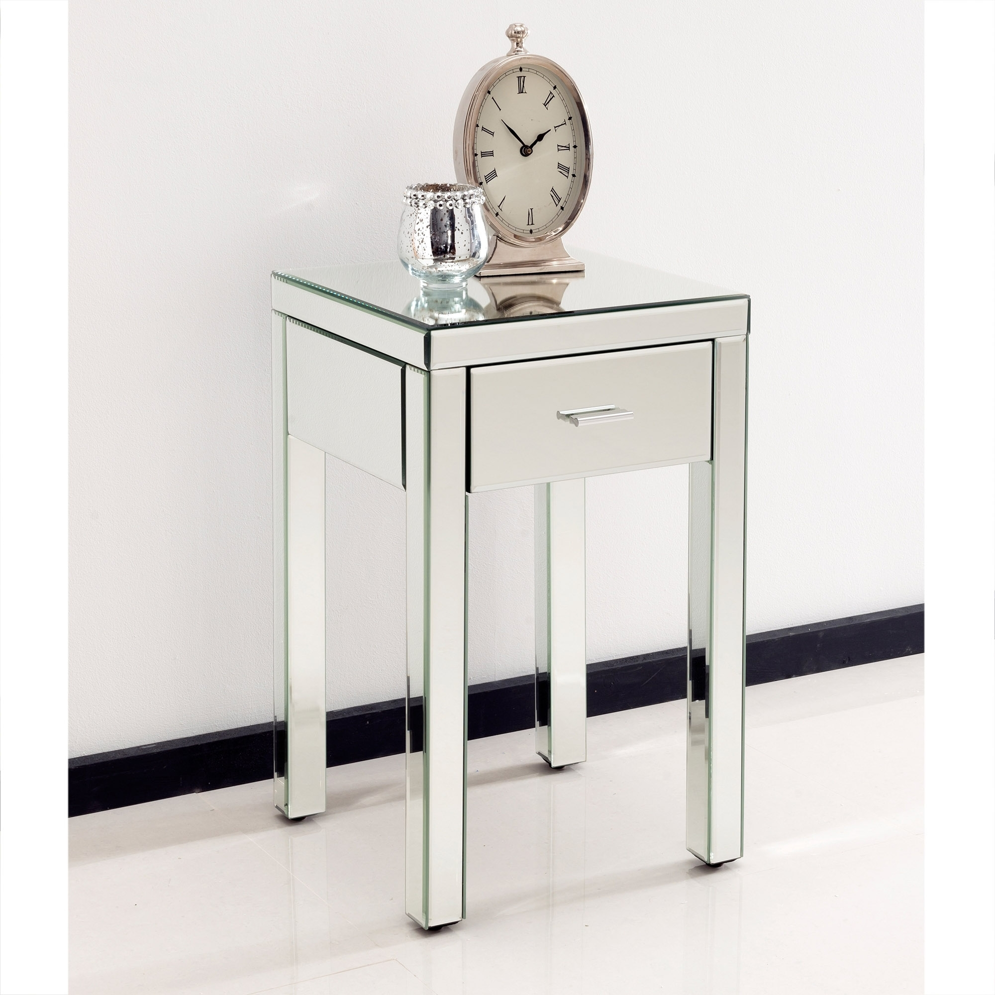 Venetian bedside table for Mirror bedside cabinets