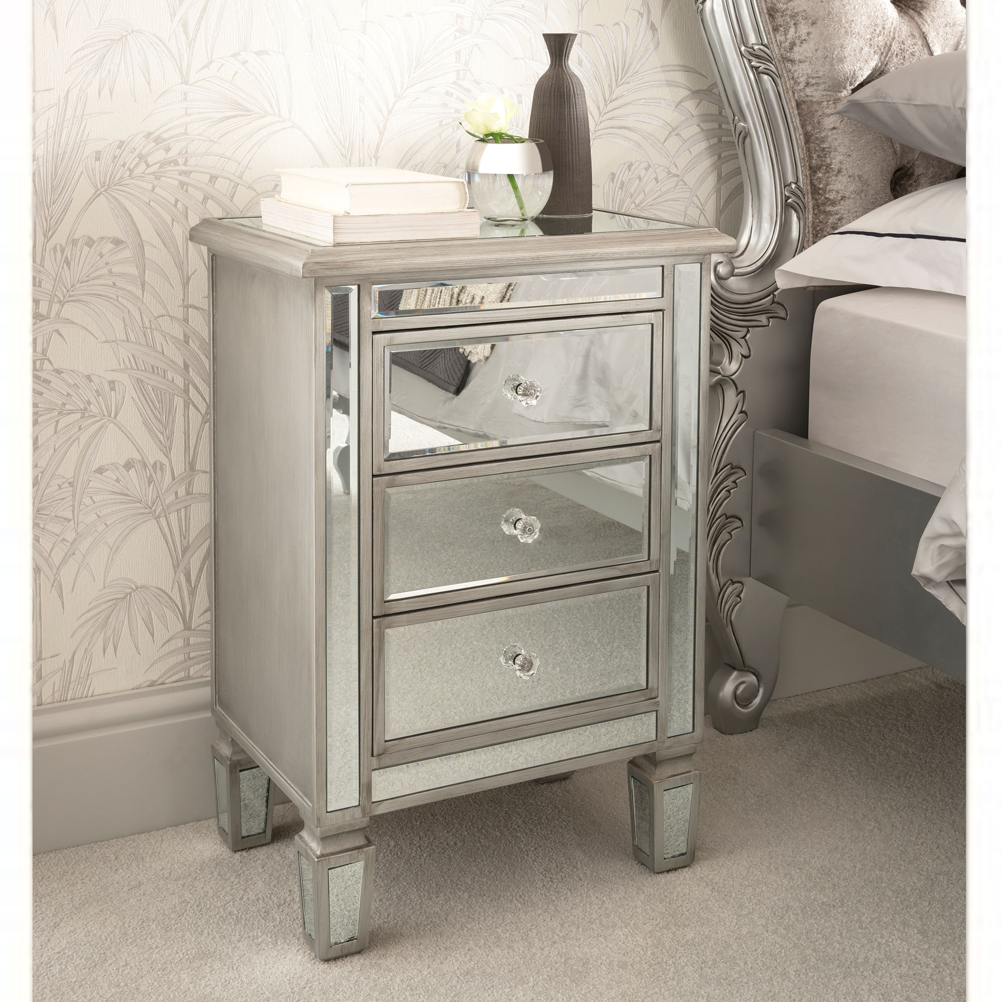 Venetian Mirrored Bedside Table | Mirrored Bedroom ...