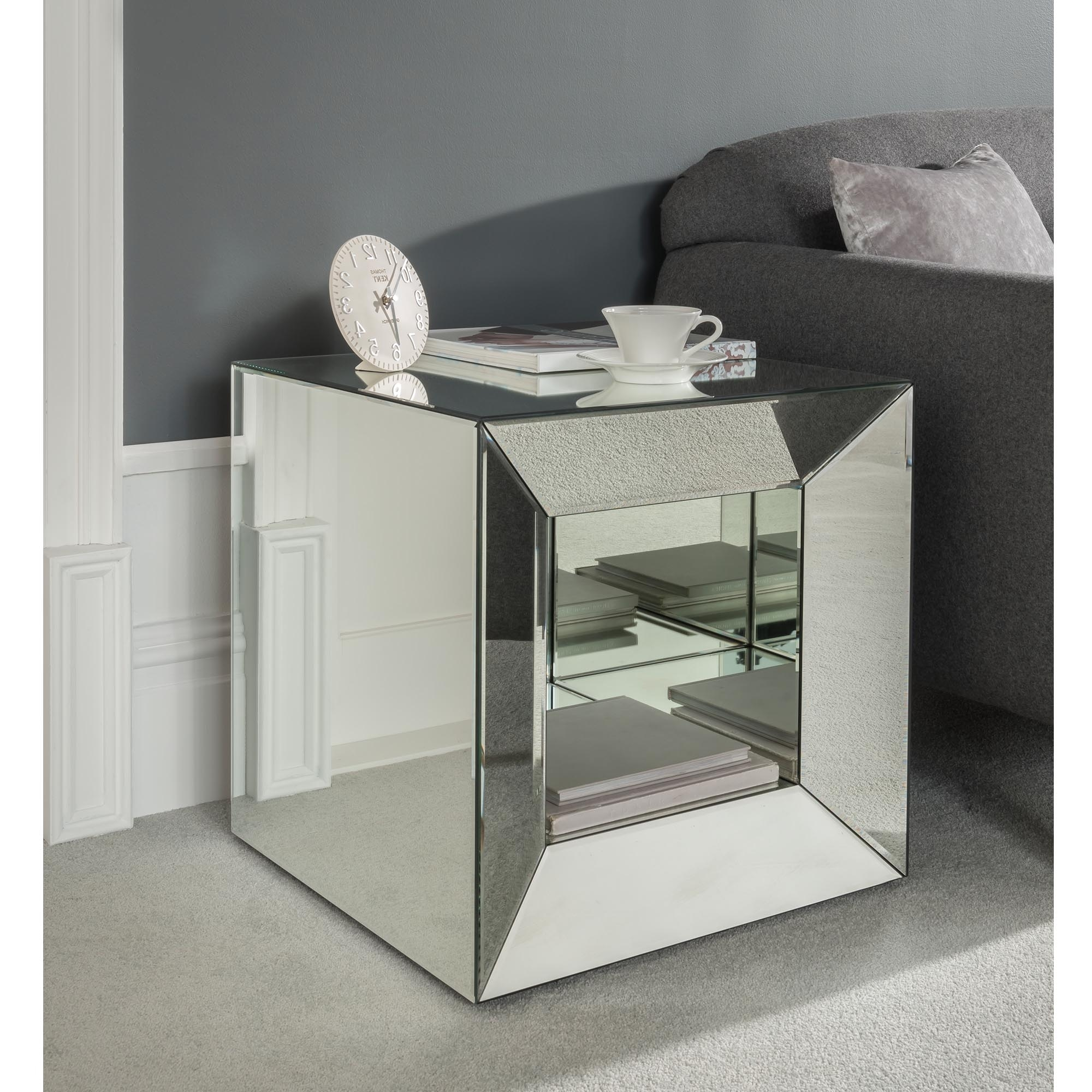 Venetian Mirrored Cube Side Table Modern Side Table