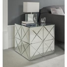 Venetian Mirrored Diamond Squares Side Table