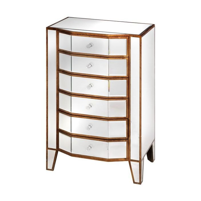 Venetian Mirrored 6 Drawer Tall Boy