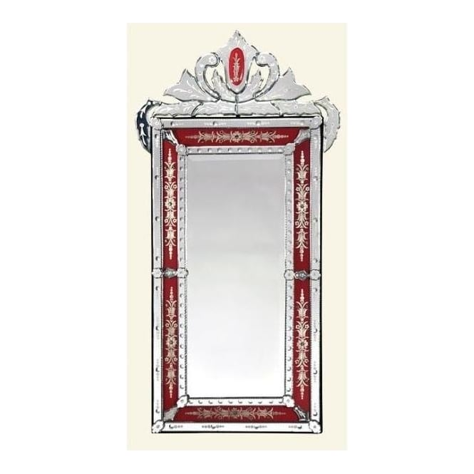 Venetian Rectangular Mirror with Crown Red