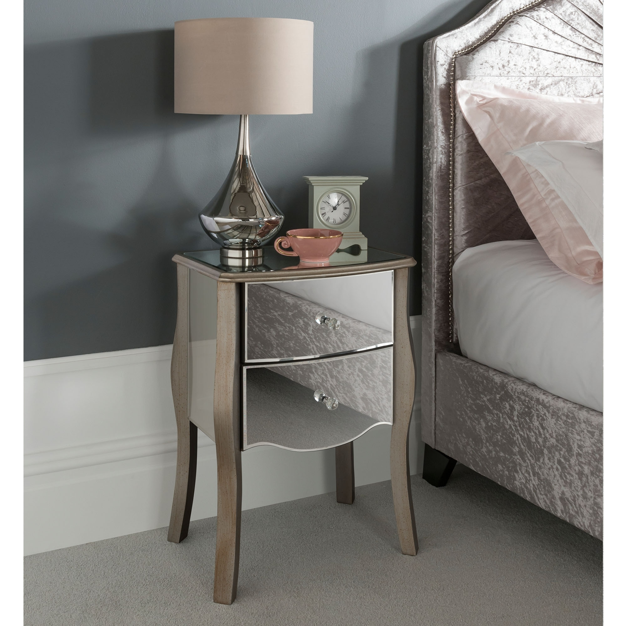 Versailles Mirrored Bedside Table