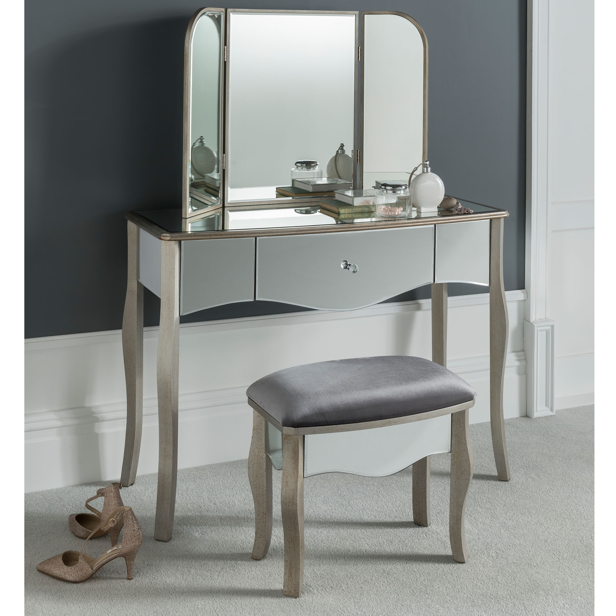 Versailles Mirrored Dressing Table Set - French Furniture from ...