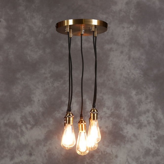 Vintage Brass Multi Pendant Light