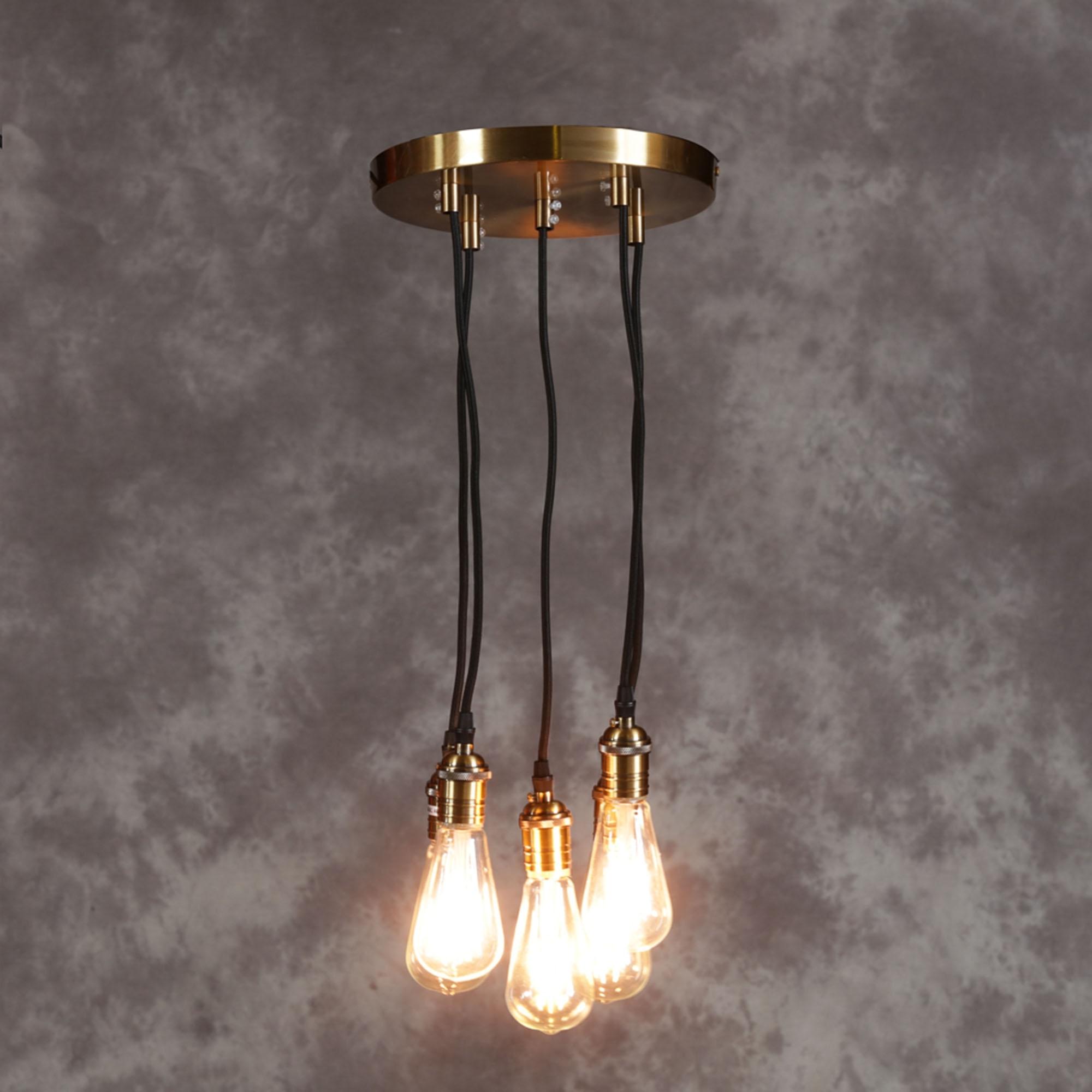 Vintage Brass Multi Pendant Light French Lighting from