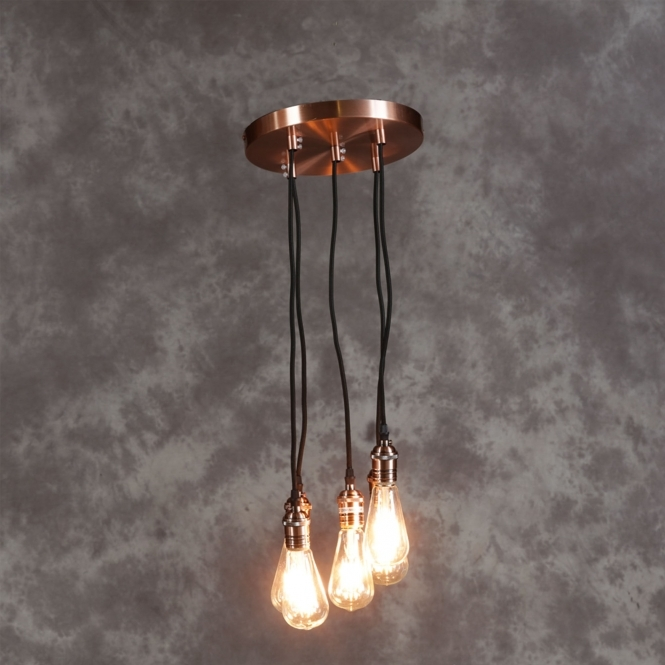 Vintage Copper Multi Pendant Light