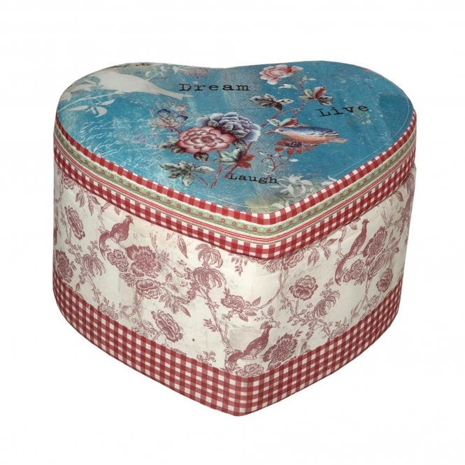 Vintage Heart Shaped Stool with Storage Space