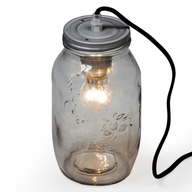 Vintage Silver Jam Jar Table Lamp
