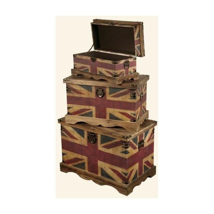 Wonderful Vintage Union Jack Trunks Set Of 3 Awesome Ideas