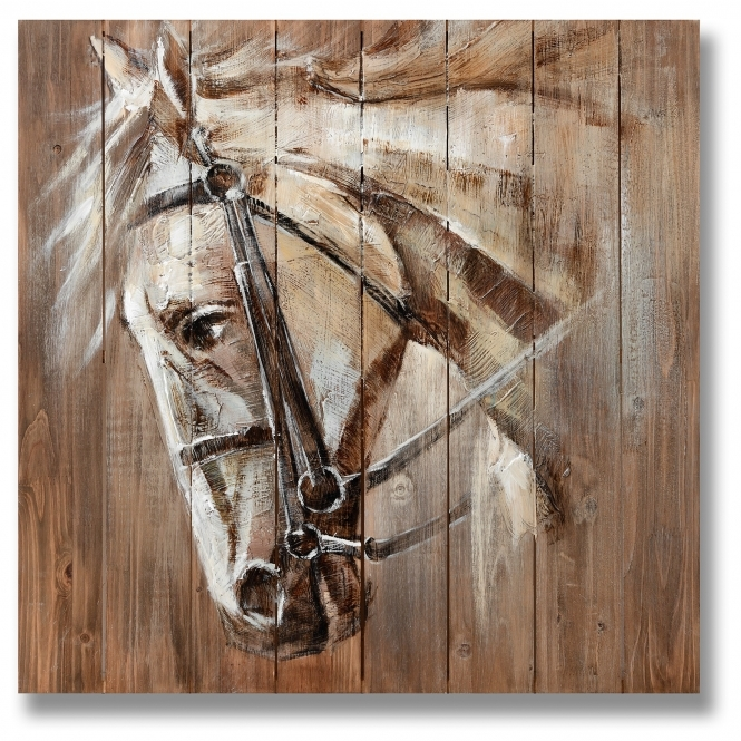 War Horse On Wood Wall Art Painting Homesdirect365