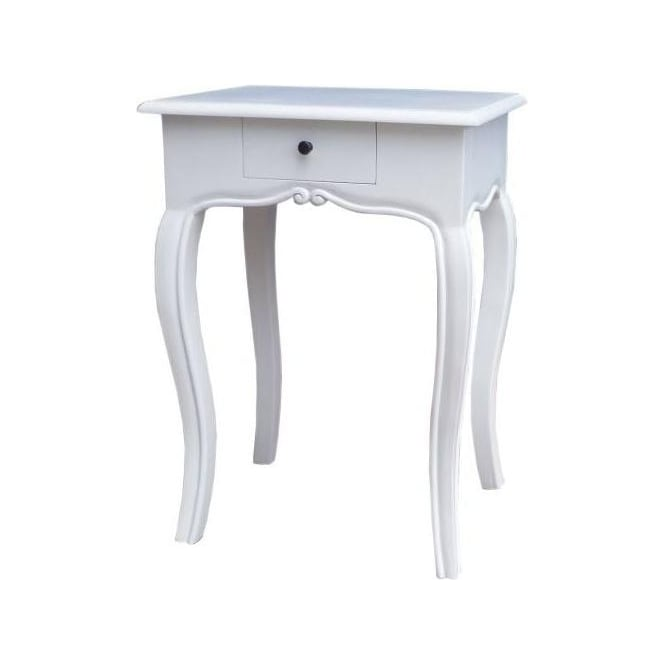 White 1 Drawer Antique French Style Bedside Table