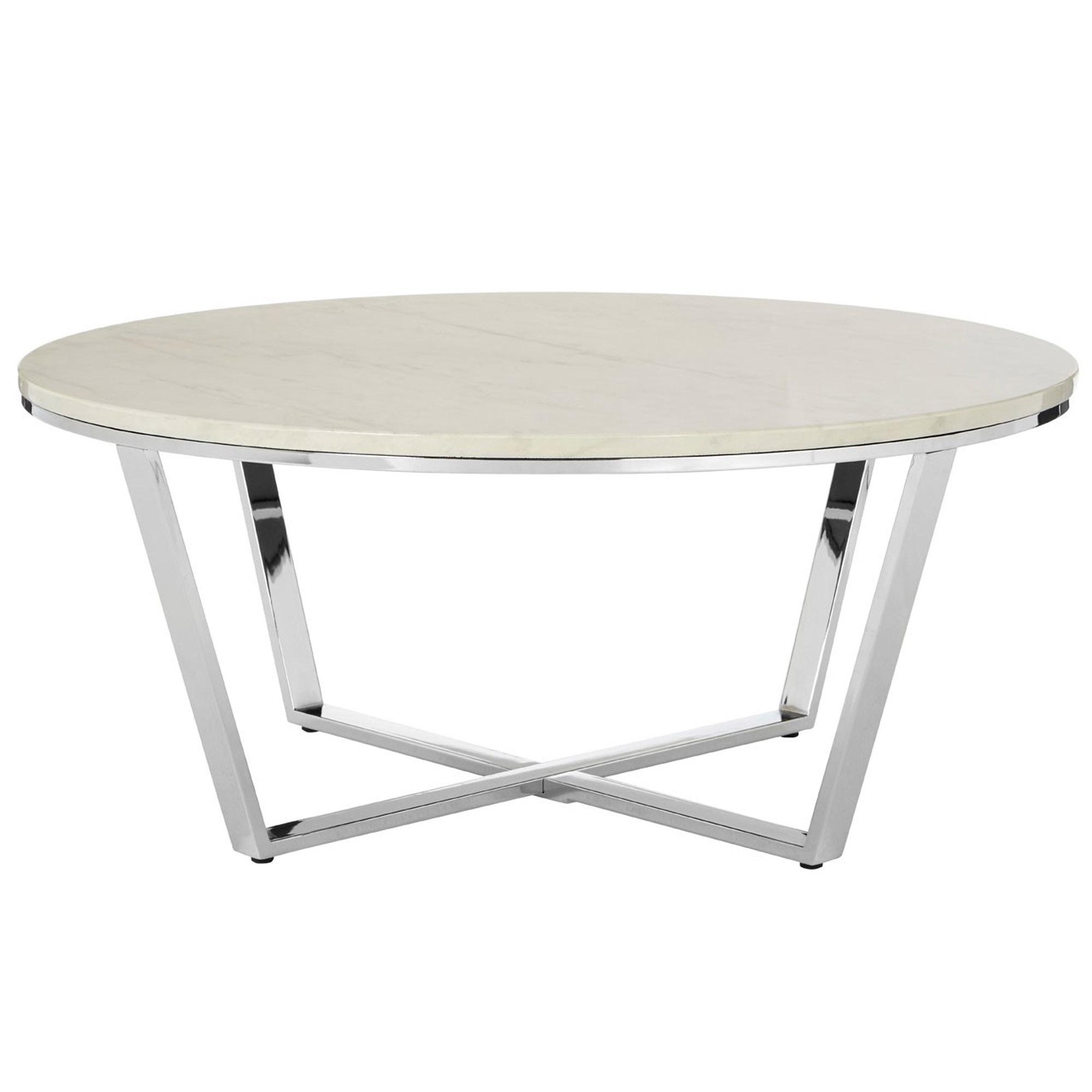 - White Allure Round Coffee Table Contemporary Lounge Furniture