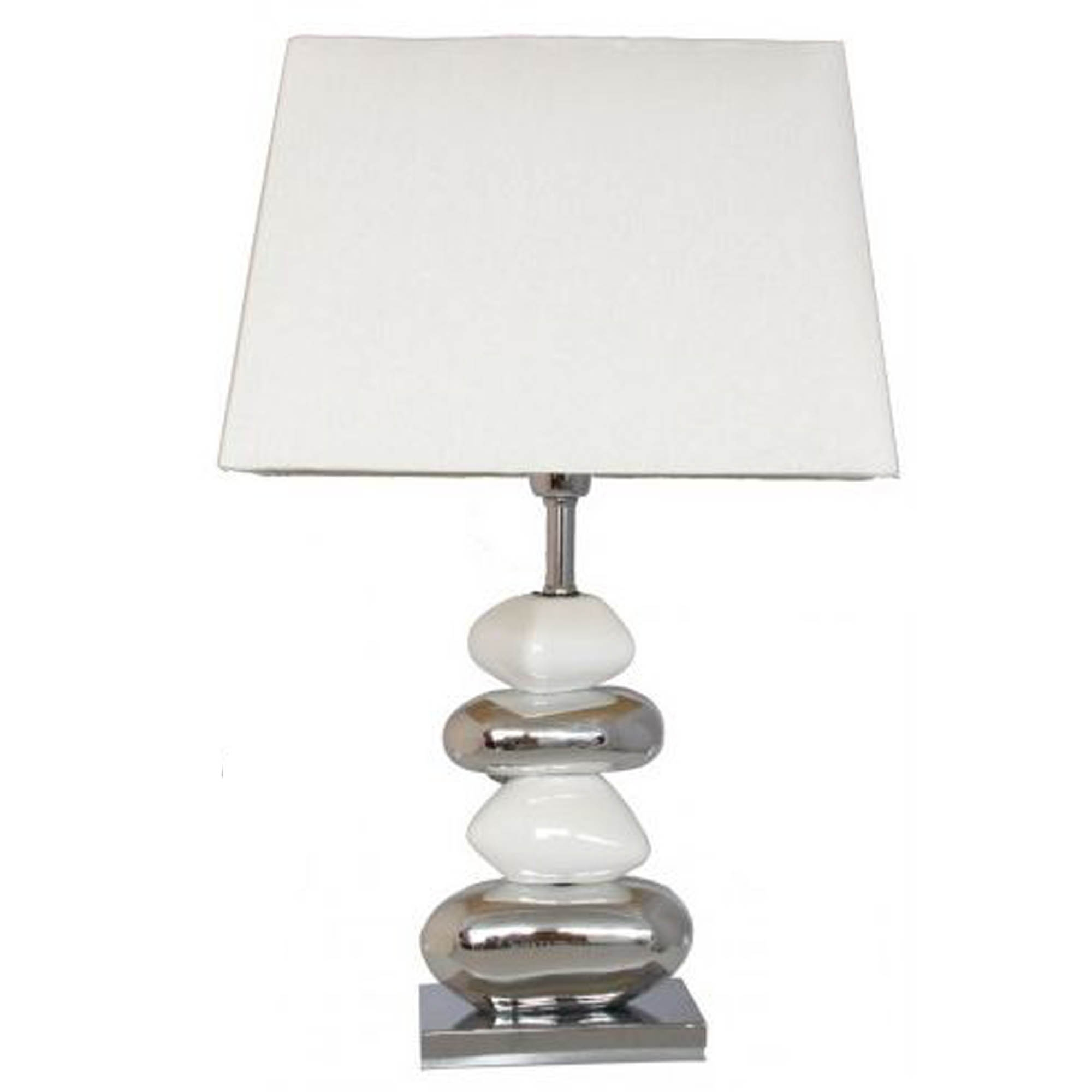 White and chrome pebble table lamp lamp homesdirect365 white and chrome pebble table lamp aloadofball Choice Image