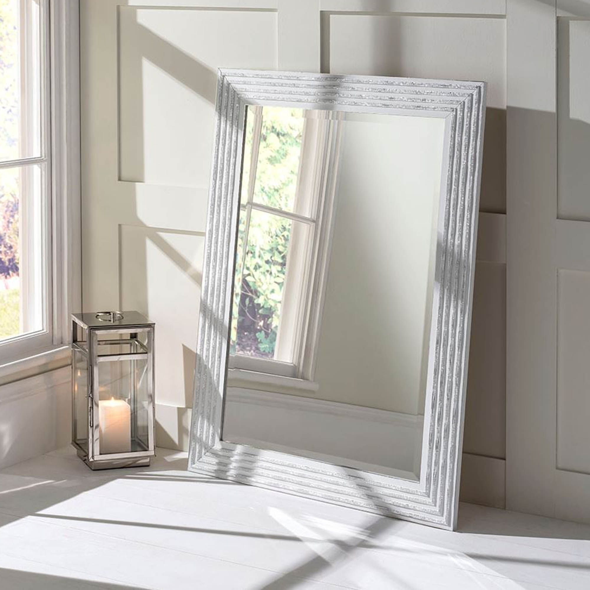 White and Silver Decorative Wall Mirror   Decor ...
