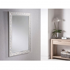 White and Silver Rectangular Wall Mirror