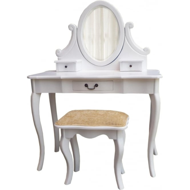 White Antique French Style Dressing Table Set