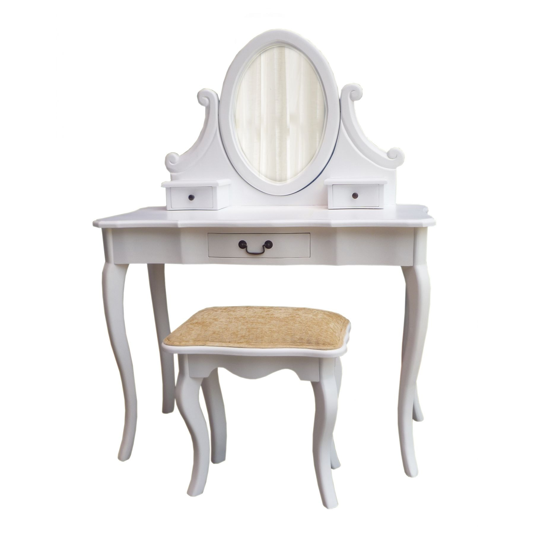 Morrocan Bedroom White Antique French Dressing Table Set Works Well